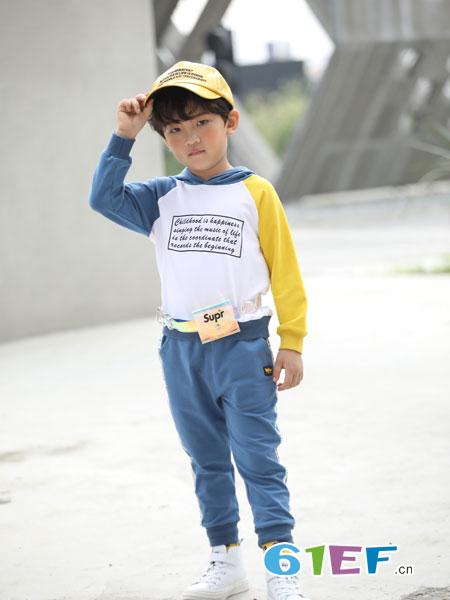 淘气贝贝童装品牌2019春季撞色带帽卫衣+休闲运动裤套装全棉儿童两件套