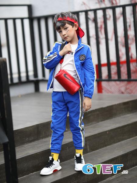 淘气贝贝童装品牌2019春季儿童棒球服 中大童休闲运动套装