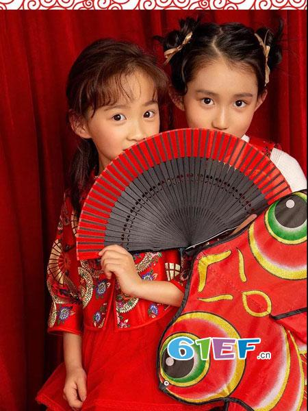 爱法贝童装品牌2019春季中国风过春节连衣裙