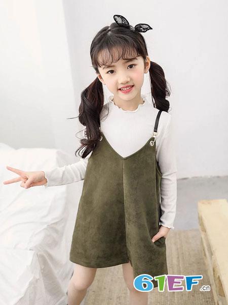 8eM童装童装品牌2019春季新款中长款吊带裙毛衣套装