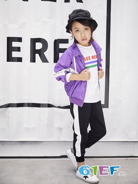 欧卡星童装品牌2019春季潮衣小女孩中大童织带紫色外套女童夹克衫
