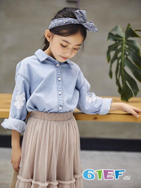 欧卡星童装品牌2019春季长袖外套宽松百搭小清新衬衫