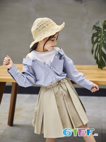 欧卡星童装品牌2019春季拼接露肩字母长袖衬衫