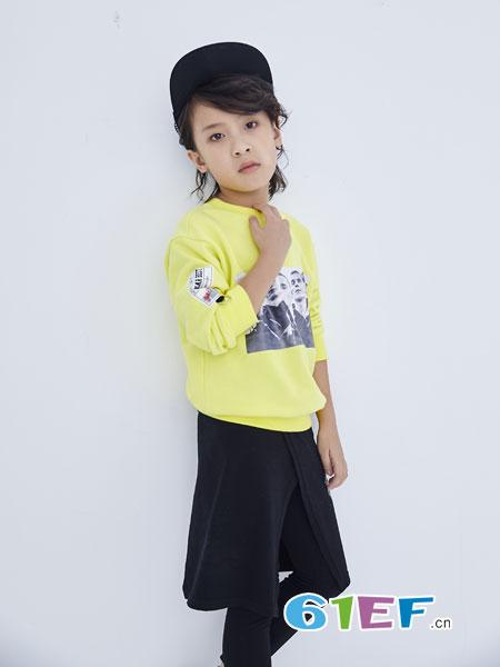 欧卡星童装品牌2019春季新款韩版字母刺绣贴布宽松套头灯笼袖上衣