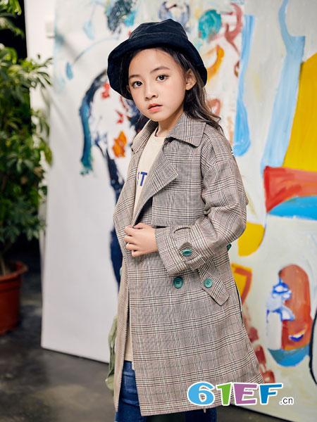 欧卡星童装品牌2019春季新款中长款韩版洋气中大童小孩格子西装