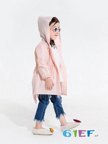 安米莉AMILRIS童装品牌2019春季中长款连帽薄款宽松粉色