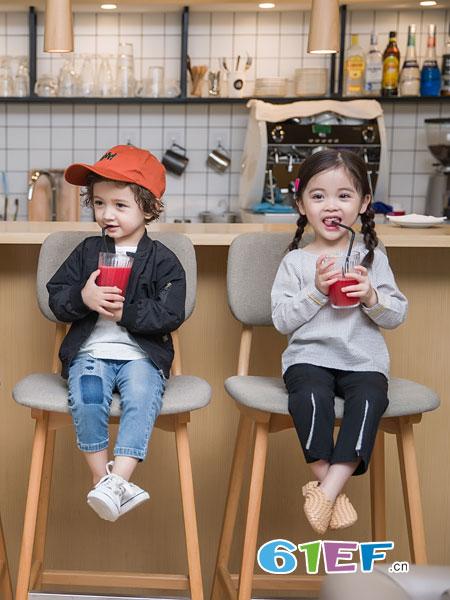 安米莉AMILRIS童装品牌2019春季潮纯色卫衣外套休闲上衣