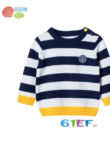 贝贝怡童装品牌2019春季针织套头保暖毛衣纯棉洋气卫衣