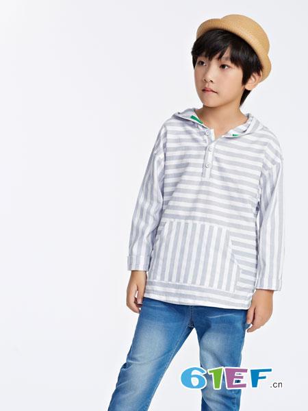力果童装品牌2019春夏男童条纹连帽卫衣麻料开领短袖衬衫