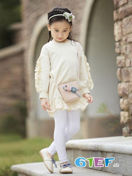玛宝乐童装品牌2019春夏 飞边女童 气质连衣裙