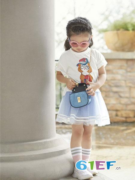 玛宝乐童装品牌2019春夏印花套头t恤+公主纱纱裙套装 女童套装