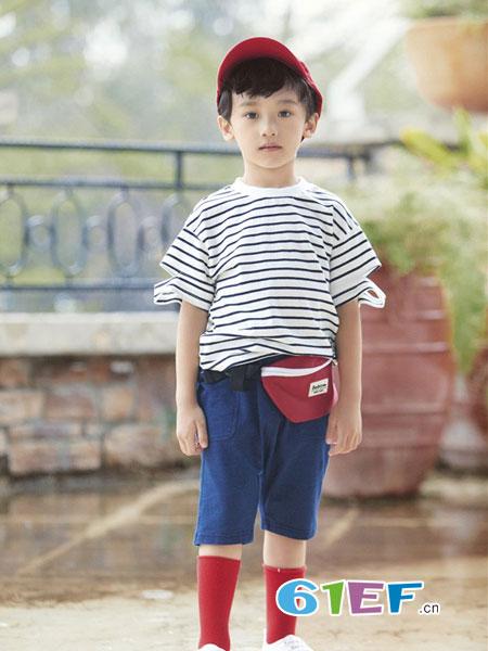 玛宝乐童装品牌2019春夏韩版潮中小童纯棉针织套头衫条纹上衣