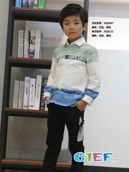动点酷站童装品牌2018秋冬纯棉儿童衬衫长袖翻领条纹男童衬衣潮