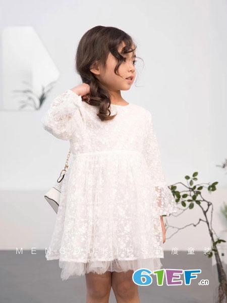 萌度童装品牌2019春季新品连衣裙 刺绣勾花白色中长娃娃裙