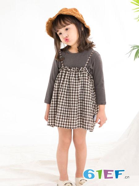 兔子杰罗童装品牌2019春季拼接格子裙两件套公主裙韩版