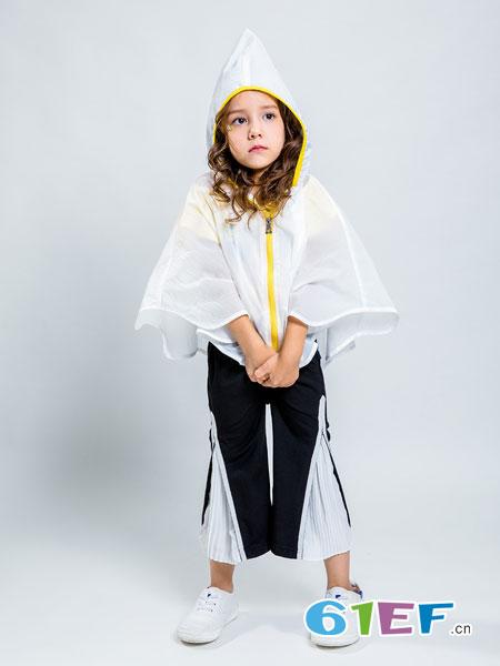 水孩儿souhait童装品牌2019春季韩版不规则下摆连帽显瘦外套