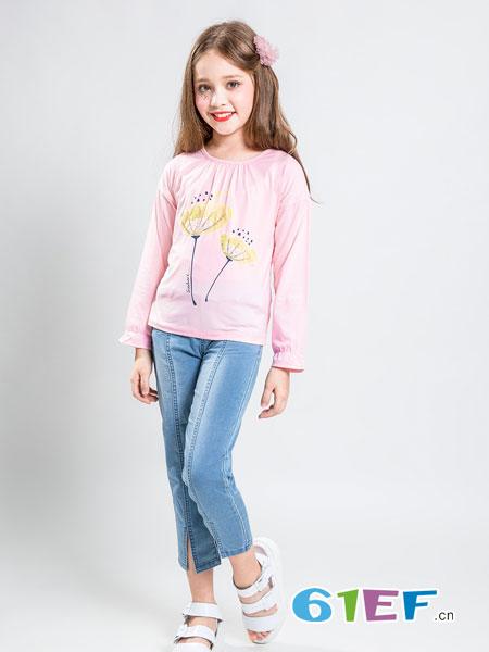 水孩儿souhait童装品牌2019春季新款女童圆领长袖T恤中大童休闲体恤上衣