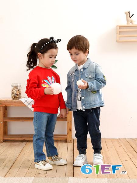 棉果果童装品牌2019春季新款童装牛仔上衣儿童小童浅色牛仔衫潮