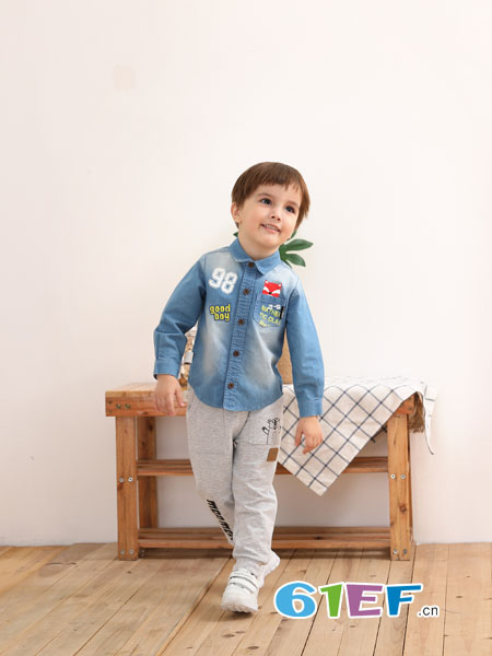棉果果童装品牌2019春季新款纯棉中小童衬衣儿童外套
