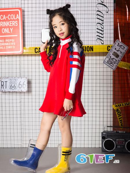 名书曼秀童装品牌2019春夏中大童休闲运动中长款卫衣裤子两件套