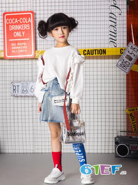 名书曼秀童装品牌2019春夏小清新甜美圆领长袖套头卫衣