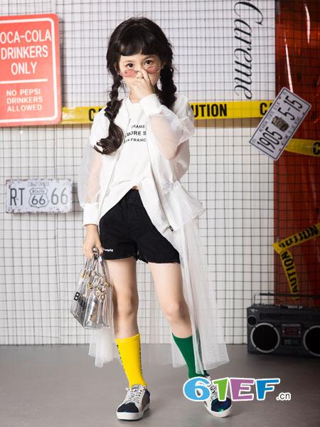 名书曼秀童装品牌2019春夏长袖t恤韩范中长款上衣潮