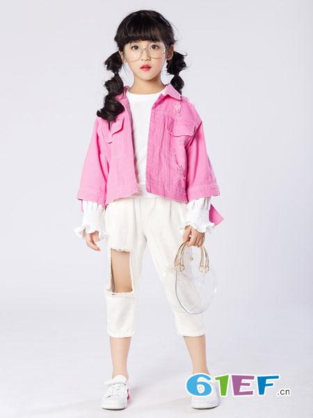名书曼秀童装品牌2019春夏儿童洋气短款外套女童帅气夹克儿童纯棉