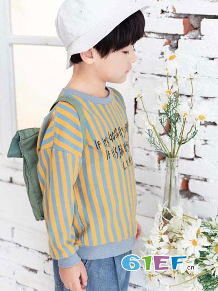 快乐精灵童装品牌2019春季套头竖条纹上衣中小童打底韩版