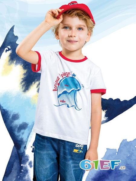 水孩儿souhait童装品牌2019春夏圆领卡通图案T恤短袖可爱海豚上衣