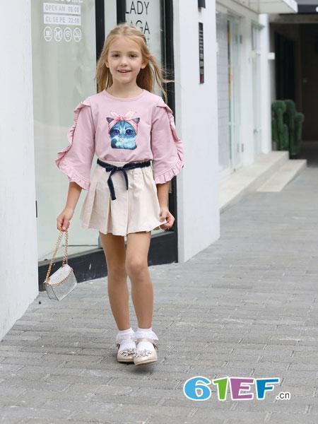 芭乐兔童装品牌2019春季长袖卫衣套装裙女高腰显瘦皮裙两件套连衣裙