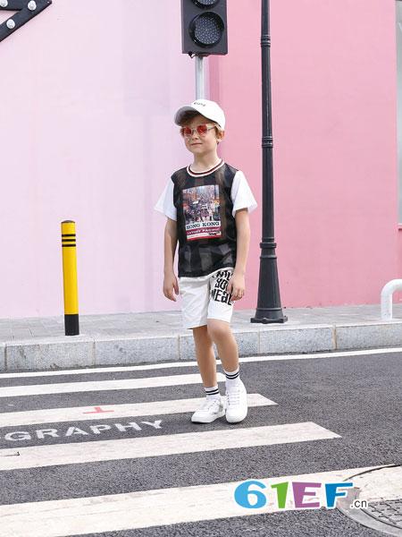 芭乐兔童装品牌2019春季短袖印花图案上衣