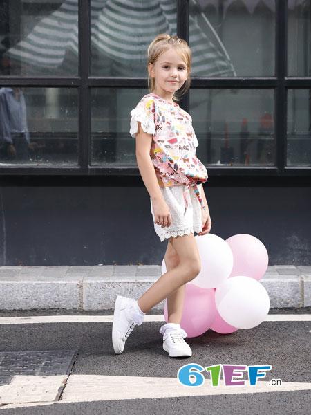 芭乐兔童装品牌2019春季趣味印花短袖t恤 休闲圆领T恤