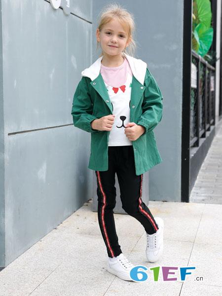 芭乐兔童装品牌2019春季儿童中大童带帽两面穿风衣