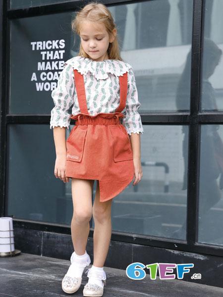 芭乐兔童装品牌2019春季儿童公主连衣裙长袖肩开新款T恤套装洋气背带裙