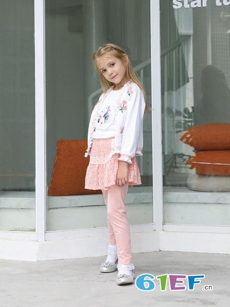 芭乐兔童装品牌2019春季荷叶边系带蕾丝衬衫 雪纺衫上衣