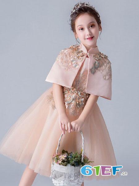阔比豆童装品牌2019春夏新品公主裙两件套女童蓬蓬纱法式晚礼服儿童走秀