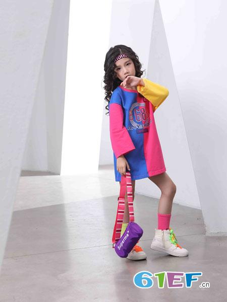 下一个奇迹童装品牌2019春夏女童T恤儿童中长款撞色长袖上衣
