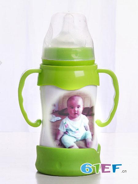 妙洁婴童用品2018春夏奶瓶陶瓷骨瓷玲珑镂空保鲜奶瓶手柄吸管