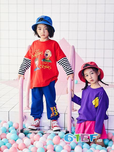 小资范童装品牌2019春季儿童条纹拼色儿童条纹长袖T恤