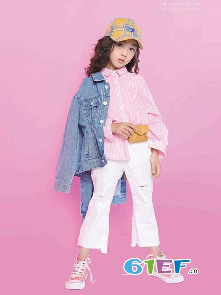 小资范童装品牌2019春季洋气新款中大童女孩条纹韩版衬衣时尚上衣