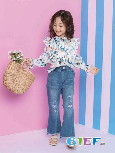 小资范童装品牌2019春季长袖荷叶领印花衬衫