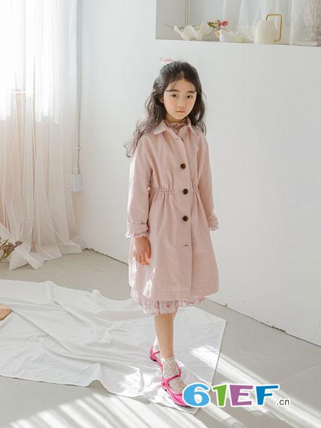 唯心至爱童装品牌2019春季新款女童风衣儿童外套中长款大衣洋气潮