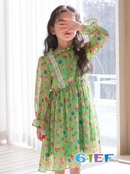 唯心至爱童装品牌2019春季新款女童连衣裙碎花儿童洋气公主裙子