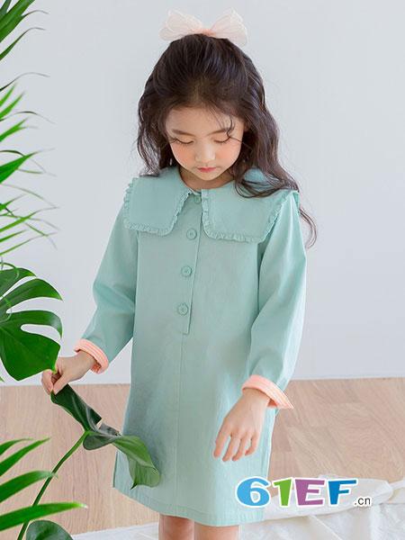 唯心至爱童装品牌2019春季新款女童连衣裙娃娃领儿童韩版洋气裙子