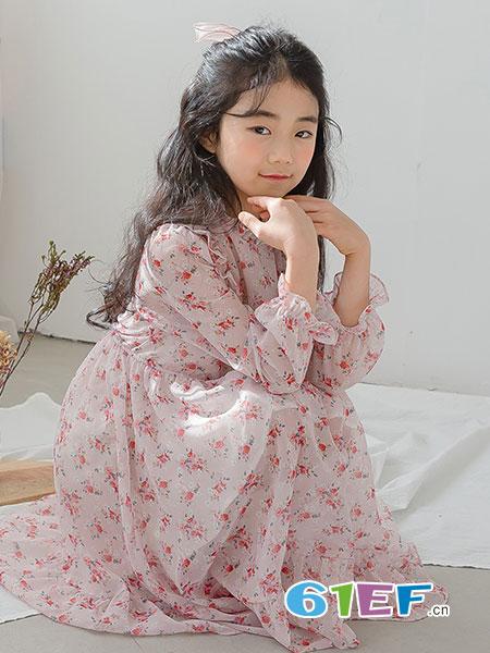 唯心至爱童装品牌2019春季新款女童碎花连衣裙韩版裙子儿童公主裙