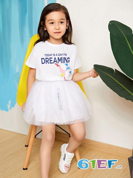 poipoilu(泡泡噜)童装品牌2019春季新款中童短袖纱裙两件套