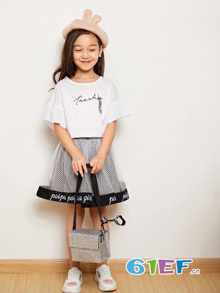 poipoilu(泡泡噜)童装品牌2019春季新款字母印花短袖T恤纯色宽松连衣裙