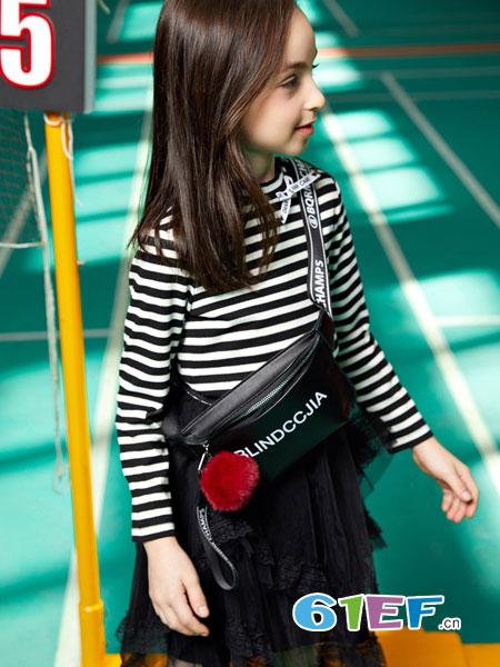 poipoilu(泡泡噜)童装品牌2019春季甜美条纹文艺修身长袖气质紧身连衣裙