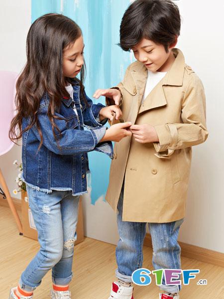 poipoilu(泡泡噜)童装品牌2019春季新款中长款中大童儿童风衣英伦风潮