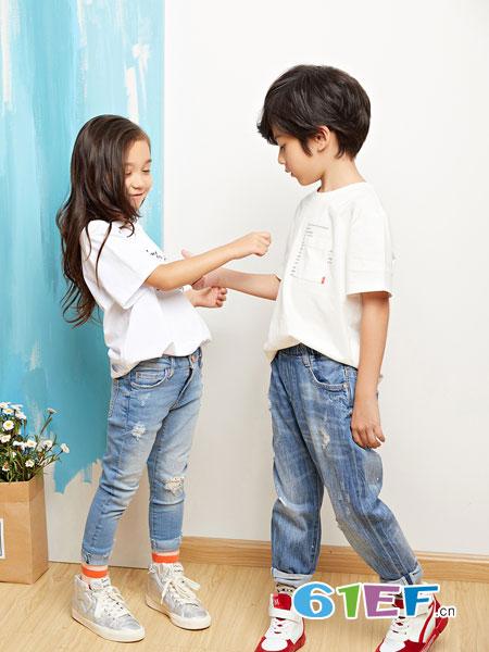 poipoilu(泡泡噜)童装品牌2019春季纯棉粉胸前领口袋宽松上衣韩版短袖t恤